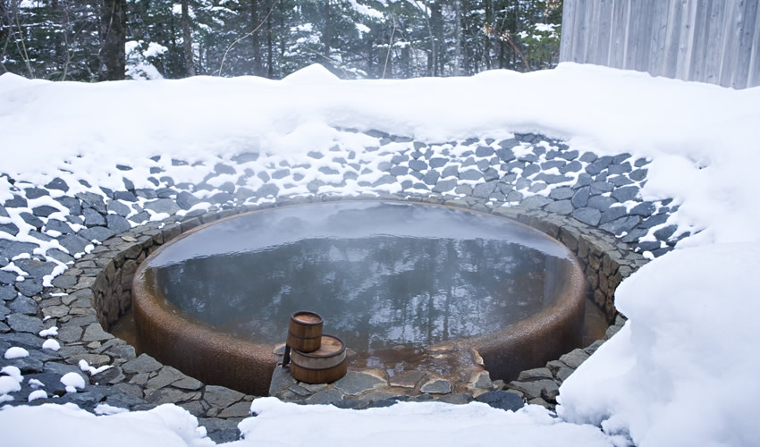Communal open-air bath winter